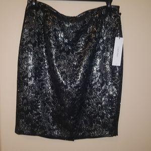 Calvin Klein Metallic Silver Skirt Size 12